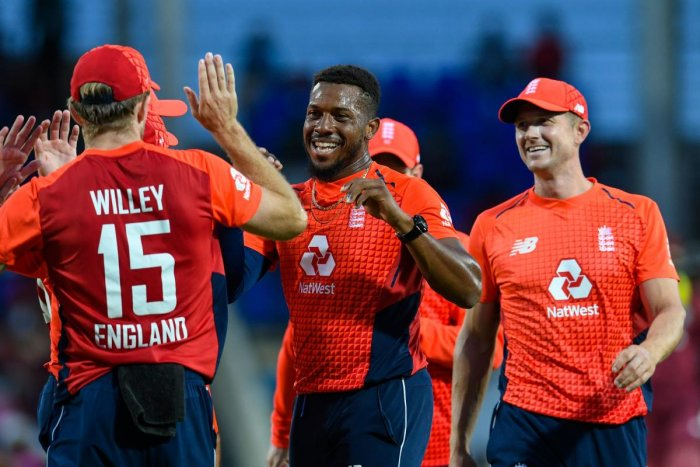 Chris Jordan wrecked the West Indies top-order batting as England completed a crushing, series-clinching victory at Warner Park. (AFP Photo)