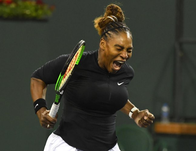 USA's Serena Williams reacts after winning the first set against Victoria Azarenka during their second round match at the Indian Wells on Saturday. USA TODAY