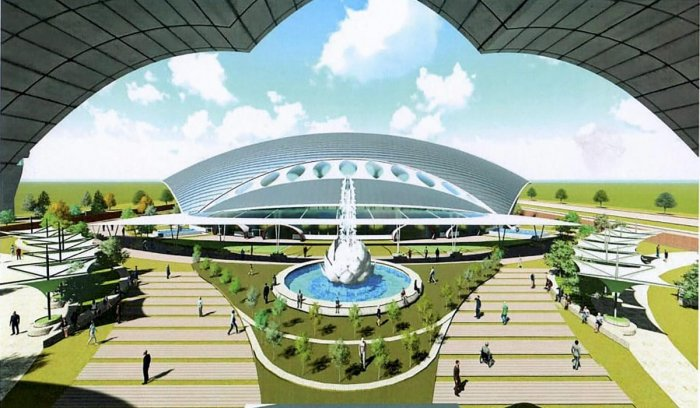 Architecture design of the Passenger Terminal Building, approved by Ministry of Home Affairs, to be constructed for the Kartarpur corridor, in Gurdaspur on Saturday. PTI photo