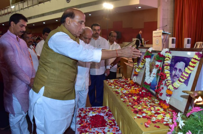 Union Home Minister Rajnath Singh offers floral tributes to Bharath Matha during the inauguration of intellectual meet at TMA Pai Hall in Mangaluru in Saturday.