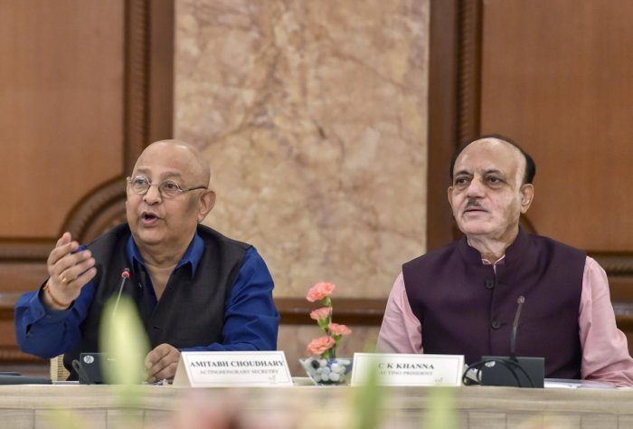 BCCI acting Secretary Amitabh Choudhary and BCCI acting President CK Khanna (R) at the board's Special General Meeting (SGM), in New Delhi. PTI