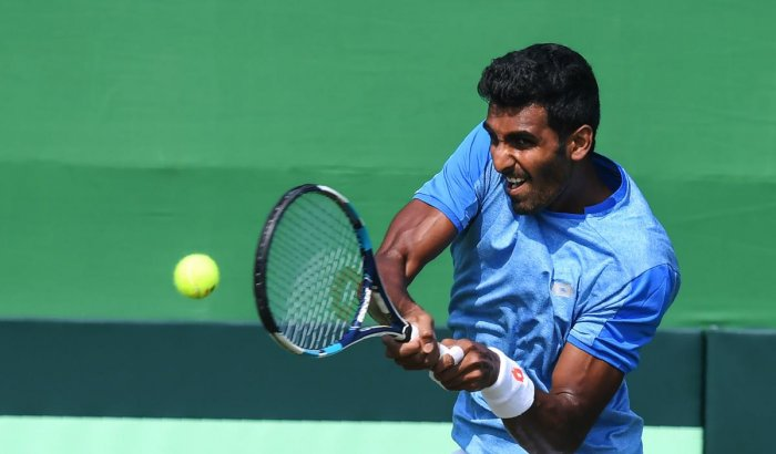 DREAM RUN: India's Prajnesh Gunneswaran shocked world number 18 Nikoloz Basilashvili to advance into the third round at the Indian Wells Masters. AFP File Photo