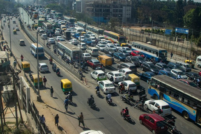 The Silk Board Junction in Bengaluru choked with traffic. DH file Photo
