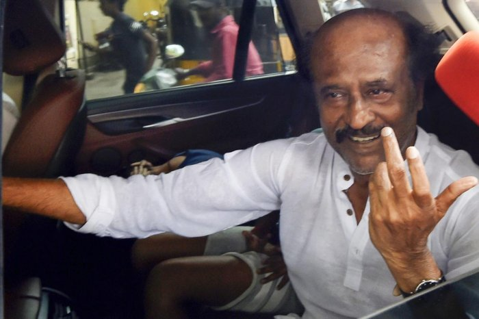 """The DMK on Friday alleged that film star Rajinikanth was a puppet in the hands of """"some persons"""" and was being supported by """"communal"""" elements. PTI file photo"""