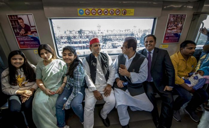 Samajwadi Party President Akhilesh Yadav along with his family and party leaders take a metro ride in Lucknow, Sunday, March 10 2019. PTI