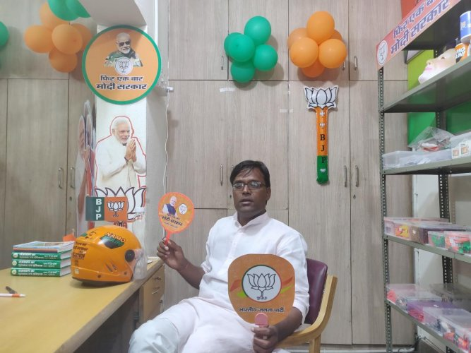 An outlet that offers BJP campaign material in Jaipur on Sunday.