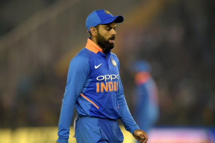 Indian skipper Virat Kohli reacts as he walks off the field after losing 4th ODI cricket match against Australia, in Mohali on Sunday. (PTI Photo)
