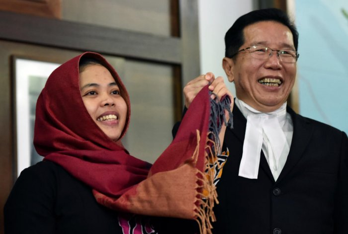 Indonesian Siti Aisyah, accused in the 2017 killing of the North Korean leader's half-brother Kim Jong Nam, and who was freed by a Malaysian court, attends a news conference at the Indonesian embassy in Kuala Lumpur, Malaysia on Monday. (REUTERS)