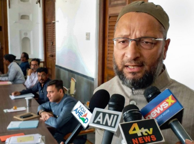 AIMIM chief Asaduddin Owaisi addresses the media after the announcement of dates for General elections 2019, in Hyderabad on Monday. (PTI Photo)