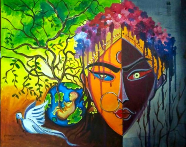 The artwork by B S Yashaswini, which has won an award.