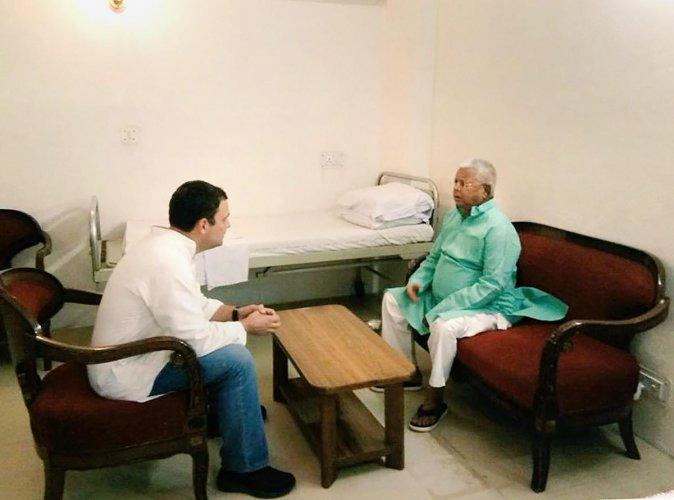 Congress President Rahul Gandhi visits RJD supremo Lalu Prasad Yadav at AIIMS in New Delhi in April last year. (RJD/Twitter)
