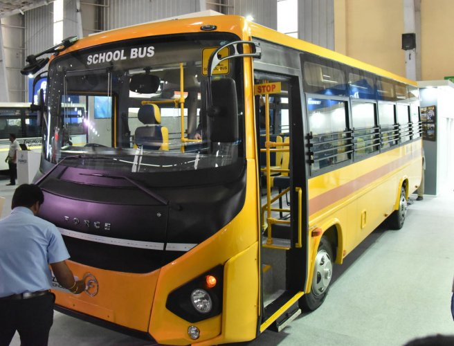 Force School bus at the inauguration of busworld India Bengaluru 8th edition of b2b organised by busworld at BIEC in Bengaluru on Wednesday 29th August. (DH Photo by Janardhan B K)