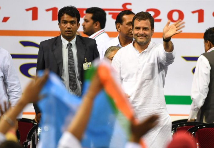 Congress president Rahul Gandhi waves towards the supporters at a campaign rally in New Delhi on Monday. AFP