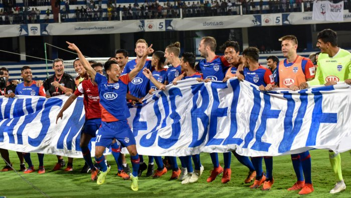 Bengaluru FC players celebrate their win in the ISL semifinal on Monday. DH photo/ B H Shivakumar