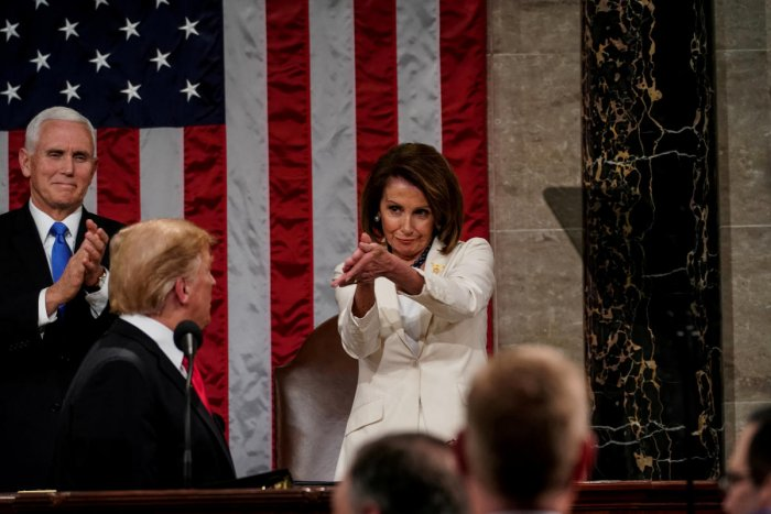 President Donald Trump delivered the State of the Union address, with Vice President Mike Pence and Speaker of the House Nancy Pelosi, at the Capitol in Washington. Reuters photo