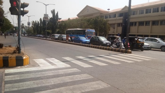 Zebra crossing is painted at Lalbagh Junction in Mangaluru.