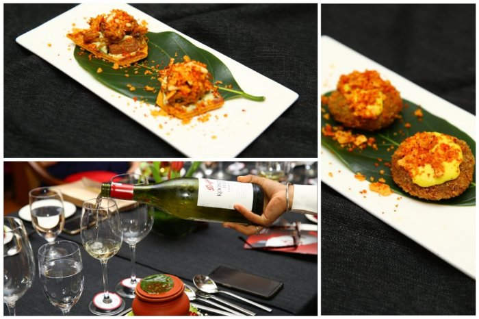 The chicken bitterballen appetizer, the Chardonnay and the Jackfruit inspired appetizer (clockwise). DH Photo
