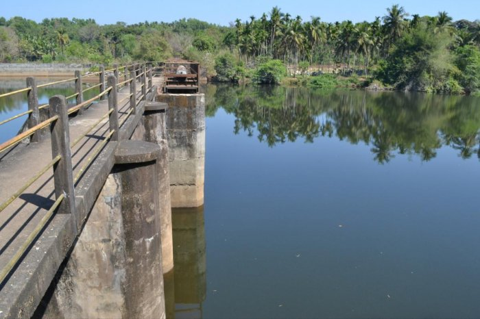 A view of Baje dam that supplies water to Udupi town.