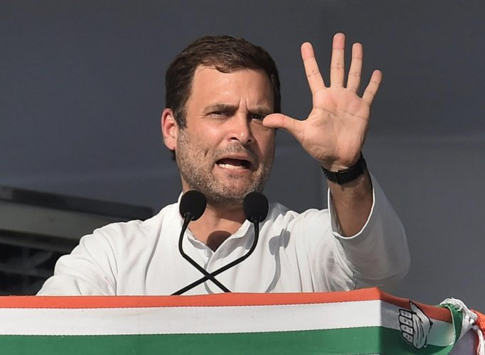 """""""It (Rajiv Gandhi's assassination) has two aspects. While one was personal which we have dealt with, the other was the legal course, which has to take its (own) course. Whatever course the legal issue takes, we are happy with it,"""" Rahul said, addressing a press conference here. (PTI Photo)"""