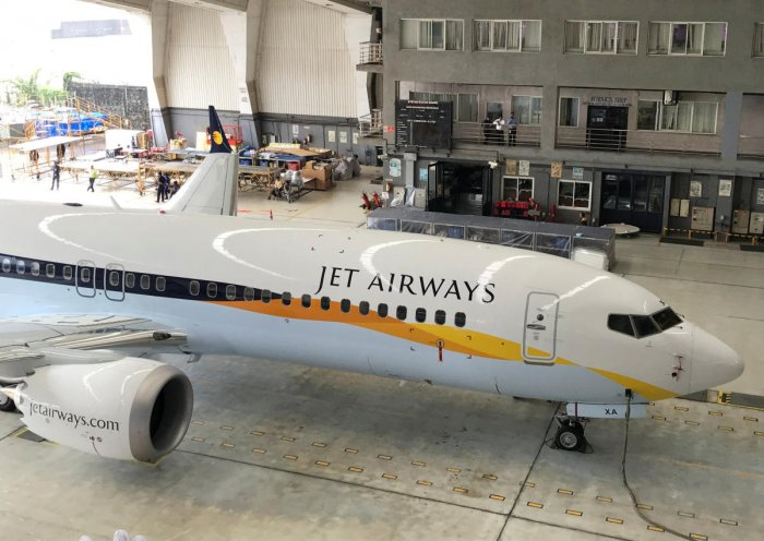 A Jet Airways Boeing 737 MAX 8 aircraft is seen parked inside a hanger during its induction ceremony at the Chhatrapati Shivaji International airport in Mumbai. (Reuters File Photo)