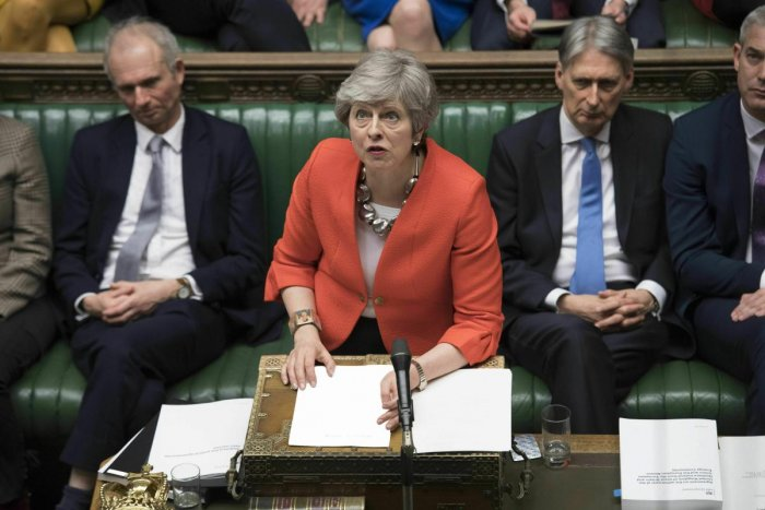 Britain's Prime Minister Theresa May speaks to lawmakers in parliament. (AP/PTI Photo)