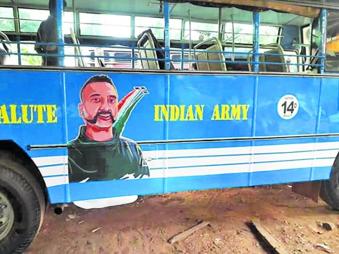 The bus with a painting of Wing Commander Abhinandan Varthaman.