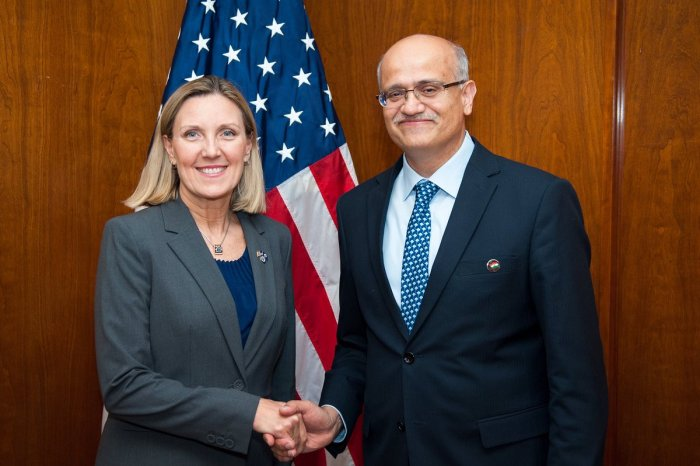 Foreign Secretary Vijay Gokhale and Andrea Thompson, the US under secretary of state for arms control and international security. (Twitter/@UnderSecT)