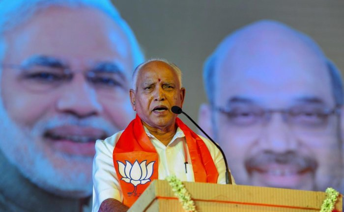 """BJP state president B S Yeddyurappa dubbed as """"fake"""" a letter purportedly written by him to Central Board of Direct Taxes Chairman Sushil Chandra, seeking action against minister D K Shivakumar and his brother D K Suresh """"for irregularities and corruption."""" PTI file photo"""
