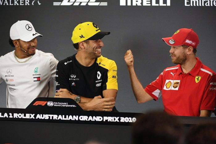 Mercedes' driver Lewis Hamilton (left), Renault's Daniel Ricciardo (centre) and Ferrari's Sebastian Vettel during the press conference in Melbourne on Thursday. Picture credit: AFP