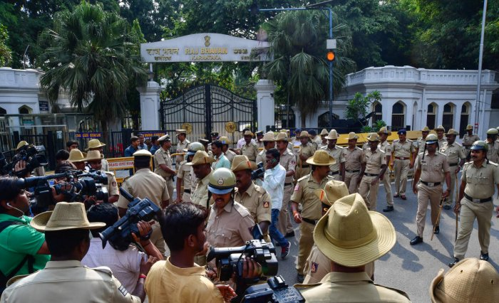 A view of the Raj Bhavan where the swearing-in ceremony was held on Wednesday. (DH File Photo)