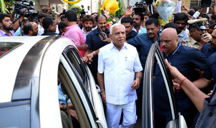 """Karnataka BJP president B S Yeddyurappa Monday rubbished reports that Prime Minister Narendra Modi will be contesting the 2019 Lok Sabha elections from the state, terming it """"far from the truth"""". DH File Photo"""