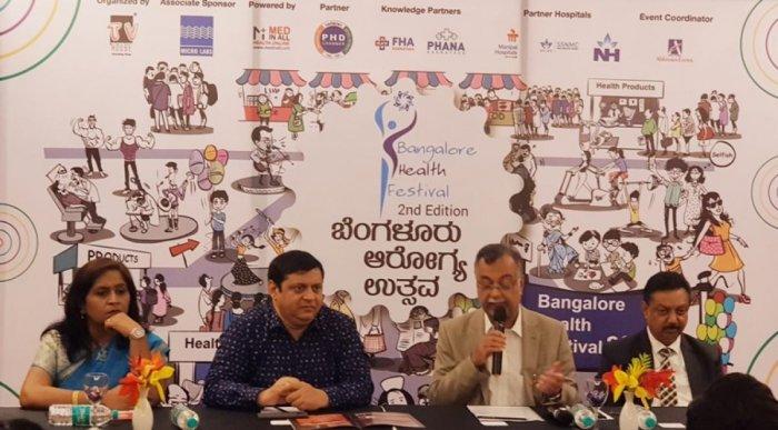 (From left) Dr Shanthala of Bangalore Health Festival; program festival director Deepak Thimaya; president, Manipal Hospital H Sudarshan Ballal; and Nagendra Swamy of Bangalore Health Festival address a press meet ahead of the event.