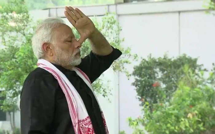 A screenshot from the video of Narendra Modi's fitness challenge posted on Twitter on Wednesday. (Twitter/@narendramodi)