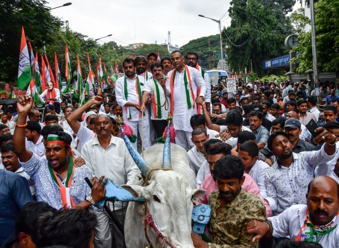 KPCC president Dinesh Gundu Rao, working president Eshwar Khandre, minister Zameer Ahmed, MLAs Narayanaswamy and N A Harris arrive in a bullock cart for a protest against hike in fuel prices, in Bengaluru on Monday.