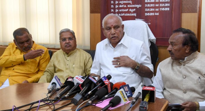 State BJP president B S Yeddyurappa addresses a press conference before the budget session, at Vidhana Soudha, in Bengaluru. (DH File Photo)