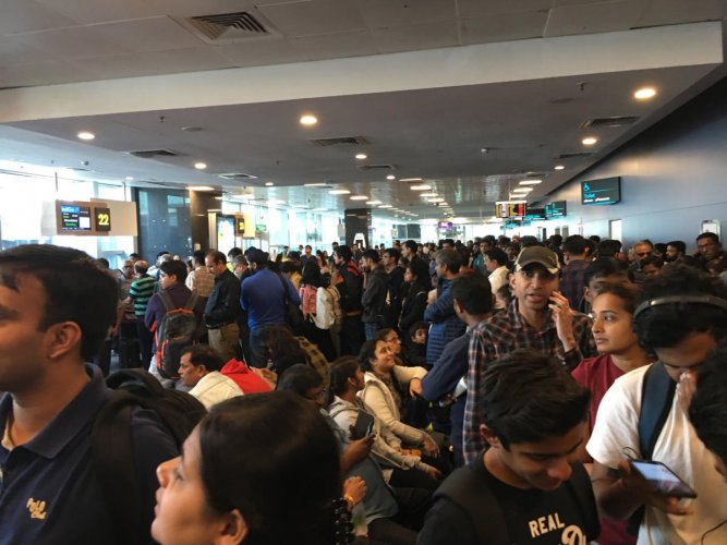 The queues at the country's third busiest airport are widespread, with passengers forced to stand for long hours at the baggage and security screening gates. DH FILE PHOTO
