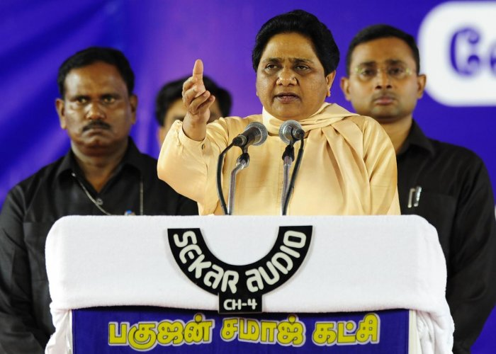 In this file photo taken on May 08, 2016, Bahujan Samaj Party (BSP) leader Mayawati gestures as she addresses supporters during an election rally in Chennai, ahead of voting in state assembly elections on the southern Indian state of Tamil Nadu. AFP