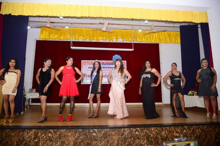 Miss World Diversity 2018 and Miss Trans Queen India Classic 2018 Naaz Joshi (fourth from right) and members of the Parivarthan Charitable Trust take part in a fashion show on the occasion of Transgenders' Day organised by Parivarthan Charitable Trust and School of Social Work Roshni Nilaya in Mangaluru on Tuesday.