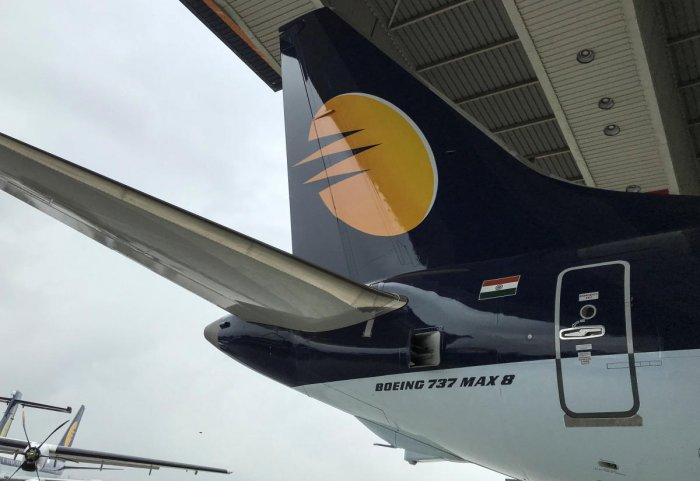 A Jet Airways Boeing 737 MAX 8 aircraft is seen parked inside a hanger during its induction ceremony at the Chhatrapati Shivaji International airport in Mumbai. REUTERS
