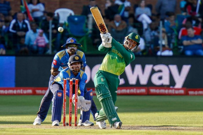 South Africa's Quinton de Kock hammers one to the boundary during his half-century against Sri Lanka on Wednesday. AFP