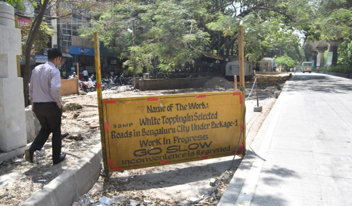 File photo of white-topping work being done on Vijayanagar main road