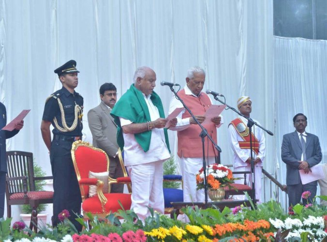 Yeddyurappa was sworn in on Thursday morning as the chief minister, though he does not enjoy a majority in the newly elected Assembly, even as the JD(S)-Congress combine, which had staked its claim to form the government, has a convincing majority. DH photo