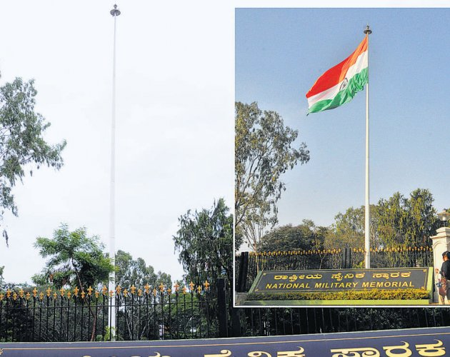 High-mast national flag in rough weather, literally