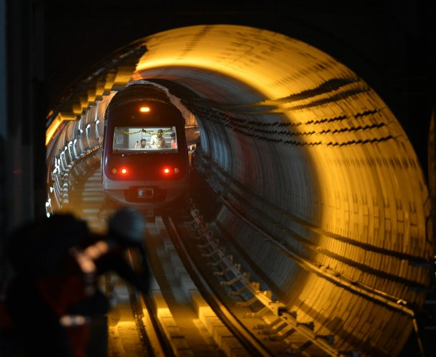 Namma Metro train  completes journey on underground stretch