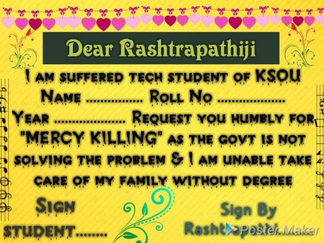 KSOU students launch signature campaign, seek mercy killing
