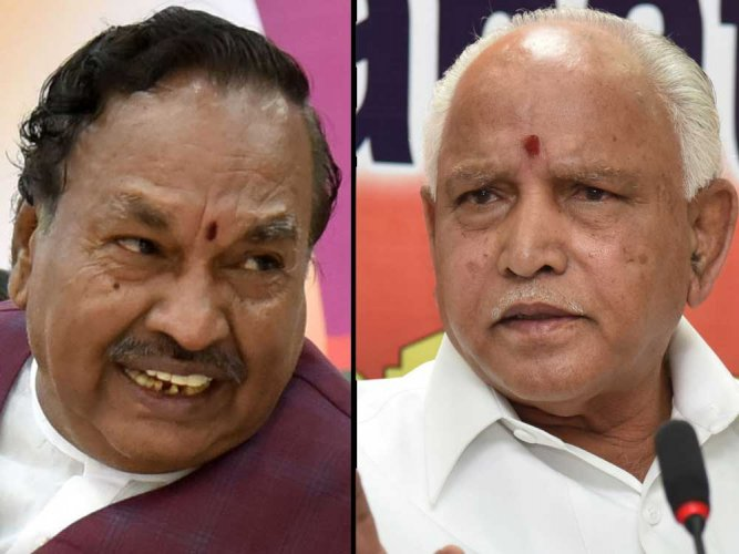 In picture: Senior BJP leader and former deputy chief minister K S Eshwarappa and Chief Minister B S Yeddyurappa. DH Photo.