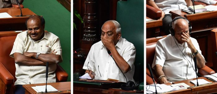 Chief Minister H D Kumaraswamy, Speaker K R Ramesh Kumar and Leader of the Opposition B S Yeddyurappa strike different postures during the discussion on charges against the Speaker, in the Assembly at the Vidhana Soudha in Bengaluru on Monday. dh photo