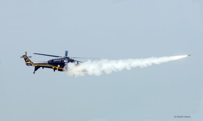 This is the first time in the country that a helicopter has carried out air-to-air engagement, says HAL Chairman and Managing Director, R Madhavan. None of the helicopters with the military services in the country has demonstrated such a capability.
