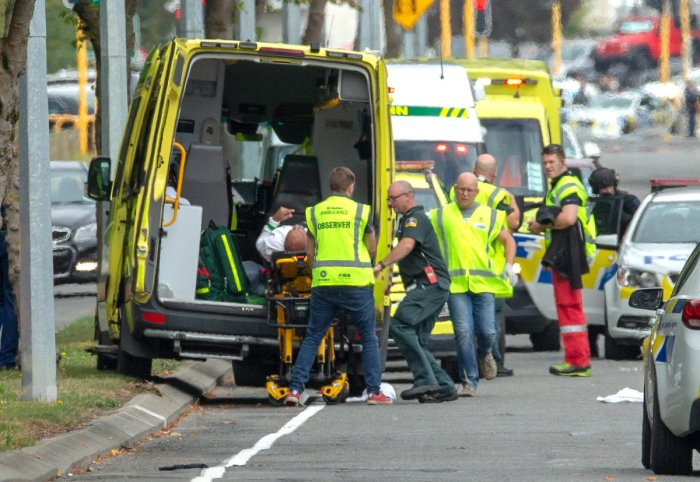 An injured person is loaded into an ambulance following a shooting at the Al Noor mosque in Christchurch, New Zealand, March 15, 2019. (REUTERS)
