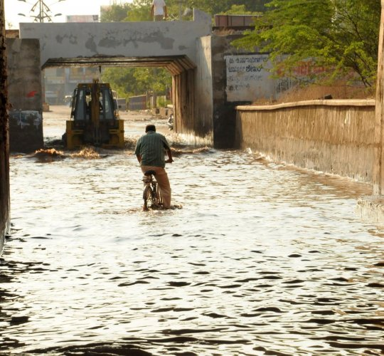 The underpass on the stadium road in Ballari was flooded following heavy rain on Monday. DH Photo